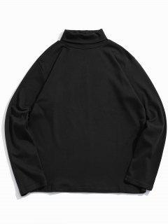 Camiseta De Manga Larga De Cuello Alto Sólido - Negro Xs