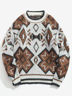 Pullover Ethnic Geometrical Pattern Sweater - Coffee L