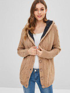Fleece Lined Cable Knit Fisherman Cardigan - Camel Brown