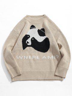 Panda Letter Knit Sweater - Light Khaki L