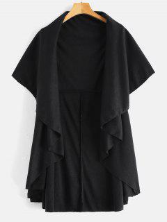 Open Front Cape Coat - Black M