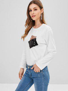 Bolsillos Con Lentejuelas Camiseta De Manga Larga - Blanco S