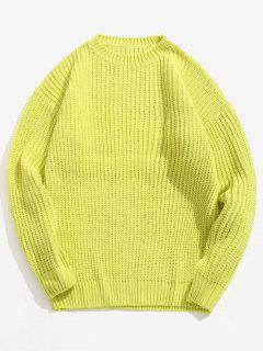Suéter De Manga Larga Con Hombros Descubiertos Y Color Liso - Té Verde L