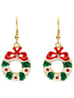 Christmas Decorative Flower Garland Earrings - Gold