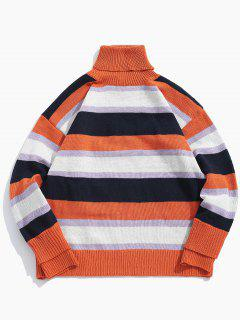 Suéter De Punto Con Cuello Alto A Rayas En Contraste - Multicolor Xl