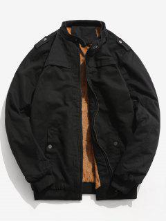 Faux Fur Lined Epaulette Jacket - Black M