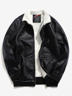 Fluffy Lined PU Leather Jacket - Black L