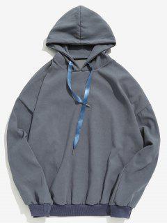 Solid Drawstring Loose Hoodie - Blue Gray