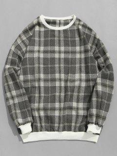 Tartan Pullover Sweatshirt - Grau M
