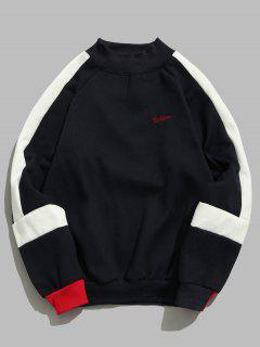 Contrast Stripe Fleece Sweatshirt - Cadetblue L