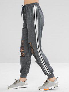 Casual Drawstring Ripped Jogger Pants - Dark Gray M