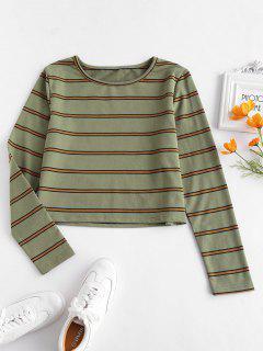ZAFUL Long Sleeve Striped Tee - Army Green M