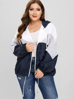 Tricolor Plus Size Light Windbreaker Jacket - Gray 4x
