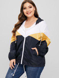 Tricolor Plus Size Light Windbreaker Jacket - Mustard 3x