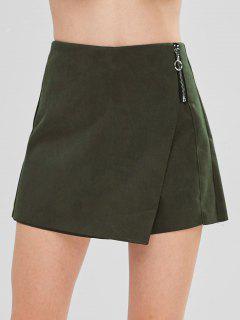 Suede Zip Up High Waist Skort - Army Green L