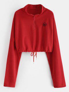 Letter Embroidered Half Zipper Crop Sweatshirt - Red L