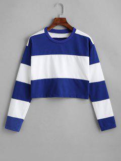 Color Block Crop Drop Shoulder Sweatshirt - Blue