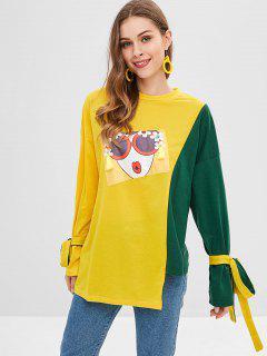 Camiseta De Túnica Con Estampado De Manga Atada Asimétrica - Marrón Dorado M