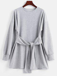 Mini Robe Sweat à Nouer à La Taille - Gris Clair L