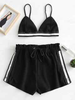 Bralette Crop Top And Shorts Two Piece Set - Black M