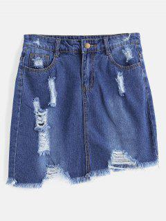 Ripped Mini Denim Skirt - Denim Dark Blue M