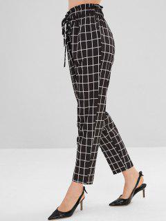 Pantalon Fuselé Taille Haute à Carreaux - Noir L