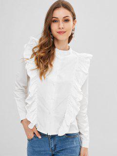 Chemise Boutonnée à Volants - Blanc