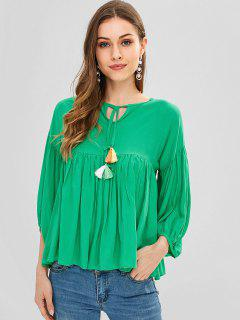 T-shirt à Manches Courtes Avec Pompons - Vert Algues S