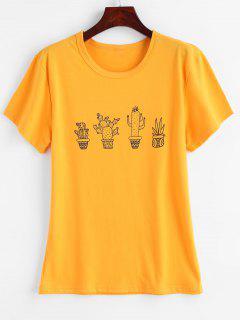 Kaktus-Grafik-T-Shirt - Niedliches Gummi Gelb M