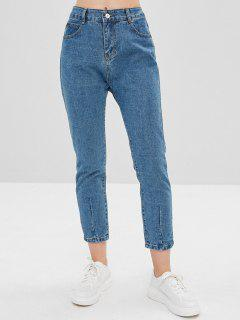 Plain High Waisted Straight Jeans - Jeans Blue L