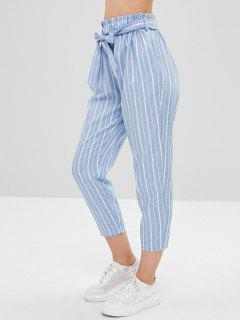 Striped High Waisted Tapered Pants - Multi S