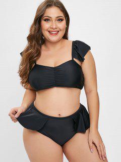 ZAFUL Ruffles Cinched Plus Size Bikini Set - Black L