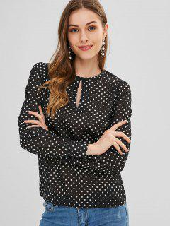 Polka Dot Keyhole Cut Out Top - Black L
