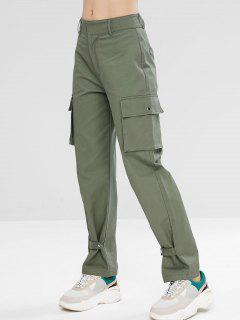 Zip Fly Sport Casual Cargo Pants - Grayish Turquoise S