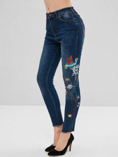 Jeans à Broderies Florales Effilées Maigres - Bleu Foncé Toile De Jean L