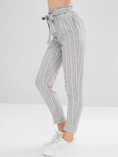 Pantalon Fuselé Rayé Ceinturé à Taille Haute - Multi L