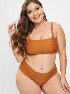 ZAFUL Texturierte Schnalle Plus Size Bikini Set - Lachsfarbe 3x