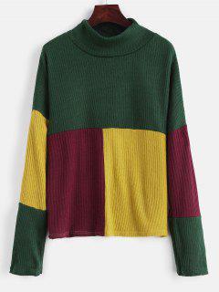 Suéter Tipo Jersey Con Cuello De Bloque De Color Simulado - Verde Oscuro S