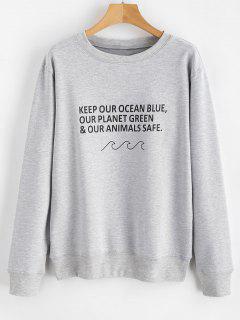 Letter Ocean Graphic Sweatshirt - Gray Cloud M