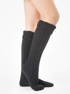 Solid Color Knitting High Knee Socks - Black
