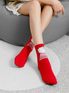 Cartoon Animal Print Christmas Socks - Red