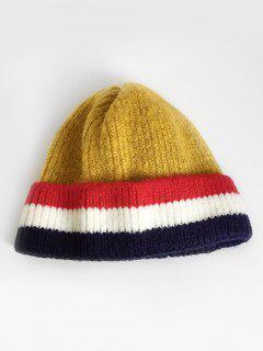 Colored Striped Knitting Ski Cap - Goldenrod