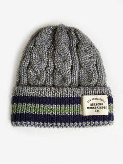 Letter Label Flanging Thick Ski Cap - Gray