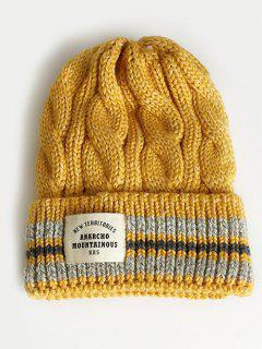 Letter Label Flanging Thick Ski Cap - Golden Brown