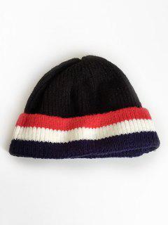 Colored Striped Knitting Ski Cap - Black