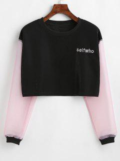 Color Block Letter Embroidered Crop Sweatshirt - Black