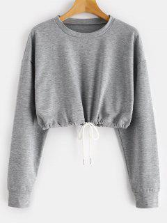 ZAFUL Crop Drop Shoulder Sweatshirt - Gray S