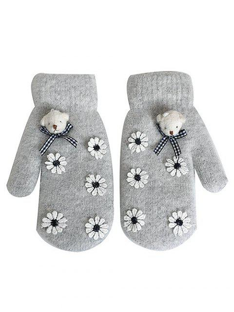 sale Cartoon Bear Floral Winter Gloves - GRAY CLOUD  Mobile