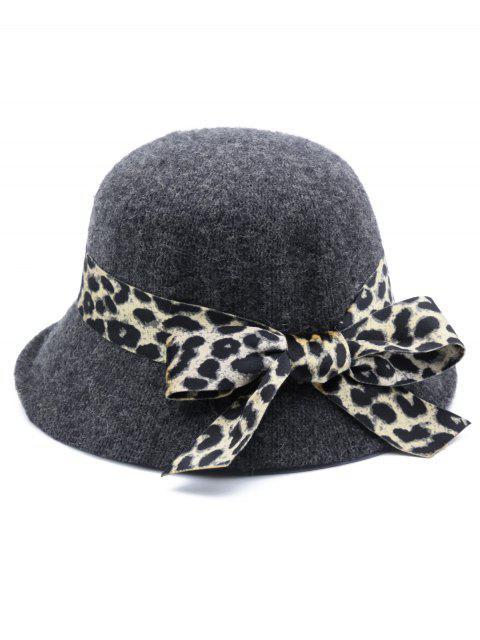 best Leopard Bowknot Elegant Bucket Hat - GRAY  Mobile