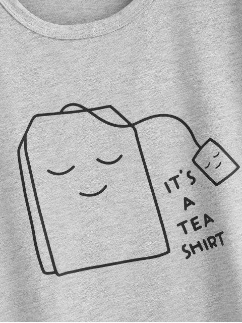 buy Tea Graphic T-shirt - LIGHT GRAY S Mobile
